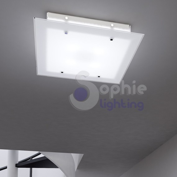 Lampadario soffitto plafoniera moderna vetro satinato - Plafoniere bagno ikea ...