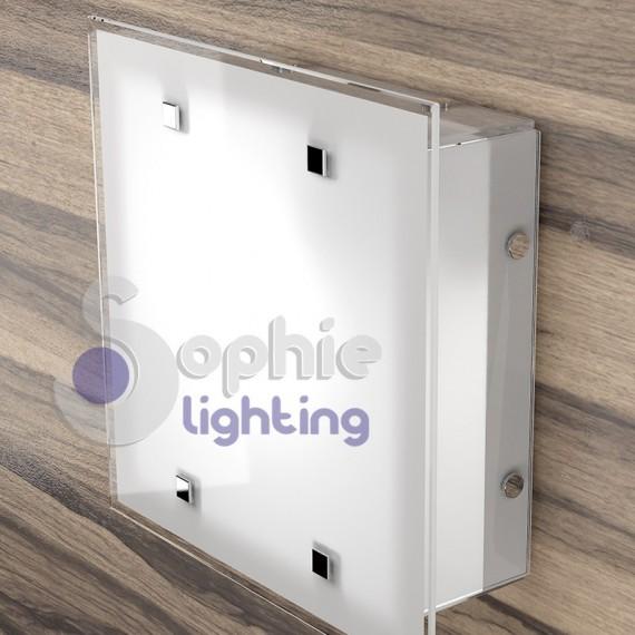 Plafoniera lampadario soffitto acciaio bianco vetro satinato design ...