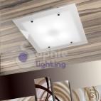 Plafoniera lampadario soffitto acciaio bianco vetro satinato design moderno soggiorno