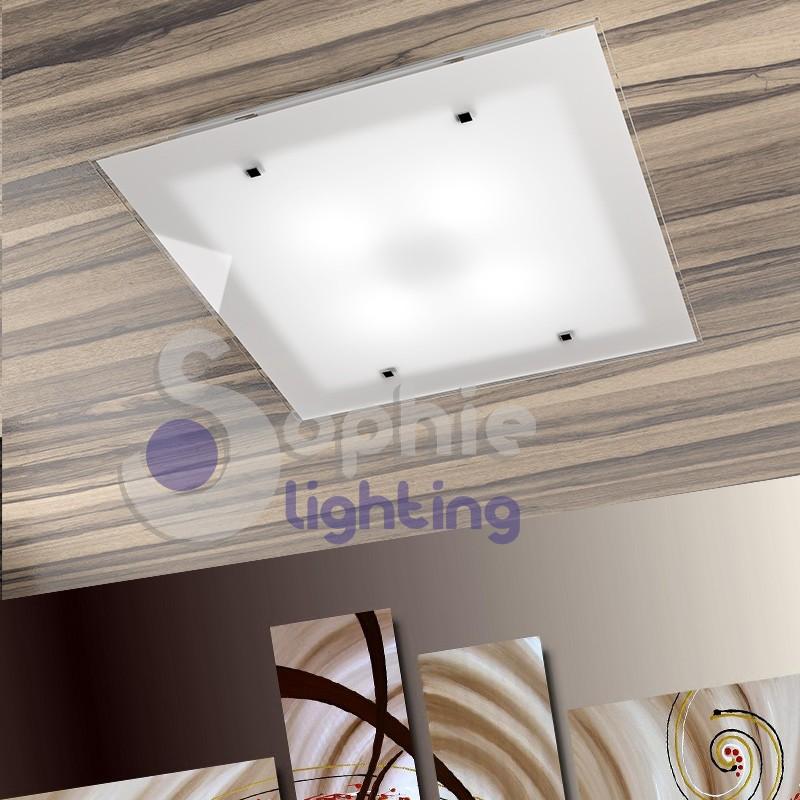 Plafoniera lampadario soffitto acciaio bianco vetro satinato design...