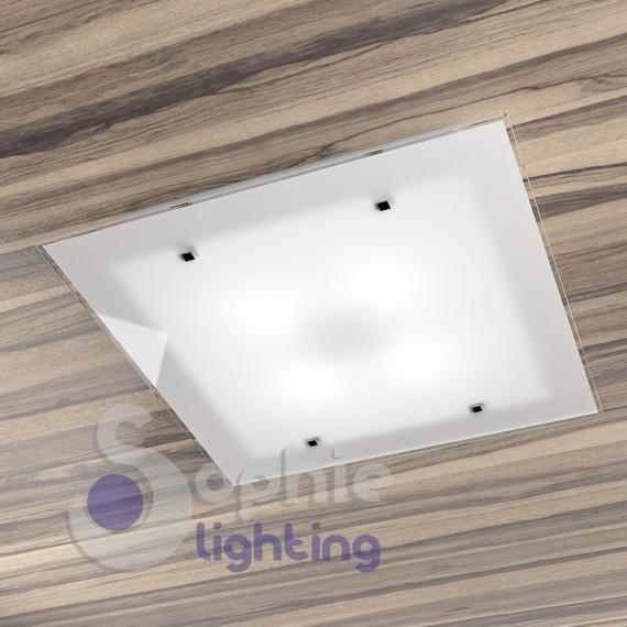 Plafoniera soffitto bagno design moderno acciaio vetro satinato bianco ingresso