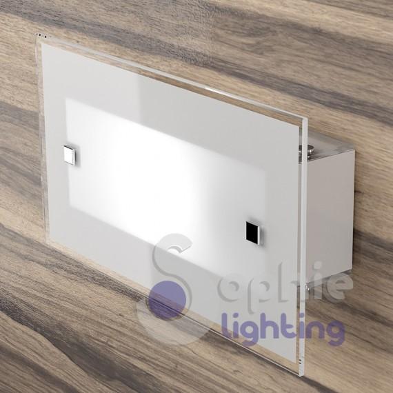 Applique lampada parete rettangolare moderna vetro satinato bianco...