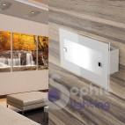Applique lampada parete rettangolare moderna vetro satinato bianco vano scala