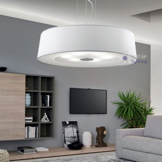 lampadario bianco design moderno cucina atollo d60