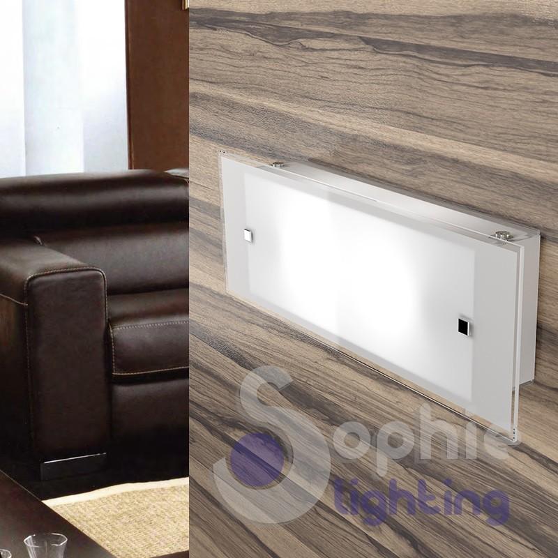 Applique lampada muro lunga 42 cm moderna vetro bianco specchiera bagno