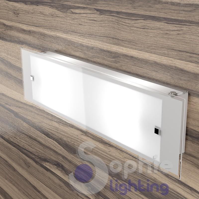 Lampada applique muro lunga 58 cm design moderno vetro satinato sog...