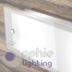 Lampada applique muro lunga 58 cm design moderno vetro satinato soggiorno