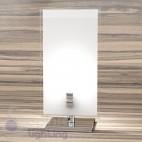 Abat jour lumetto comodino design moderno cromato vetro satinato