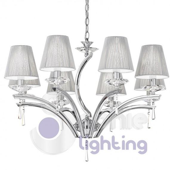 Lampadario design moderno 8 luci acciaio cromato paralumi for Immagini lampadari moderni