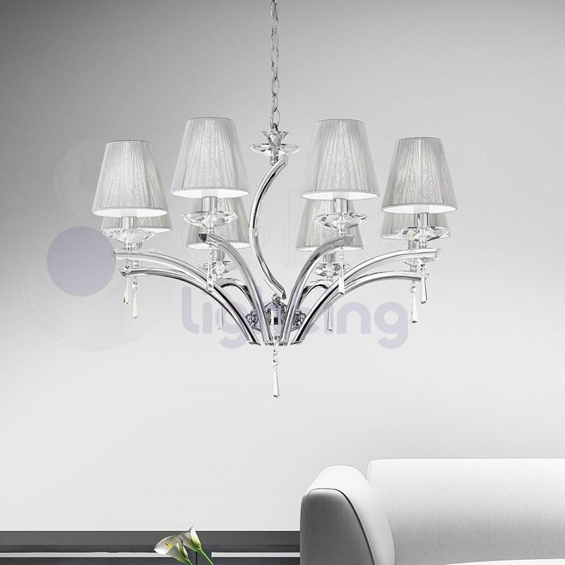 Lampadario design moderno 8 luci acciaio cromato paralumi argento soggiorno