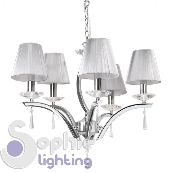 Lampadario paralumi argento 5 luci moderno cristallo cromo salone