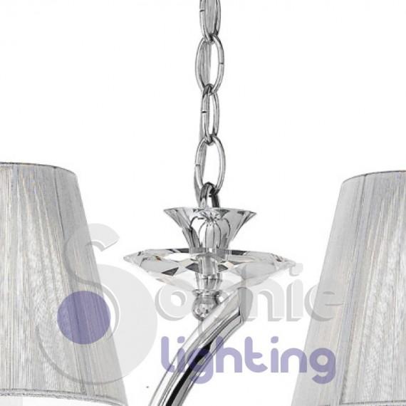Lampadario 3 luci elegante contemporaneo paralumi argento for Lampadario contemporaneo