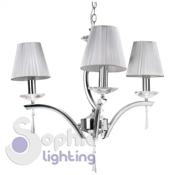 Lampadario 3 luci elegante contemporaneo paralumi argento cristallo