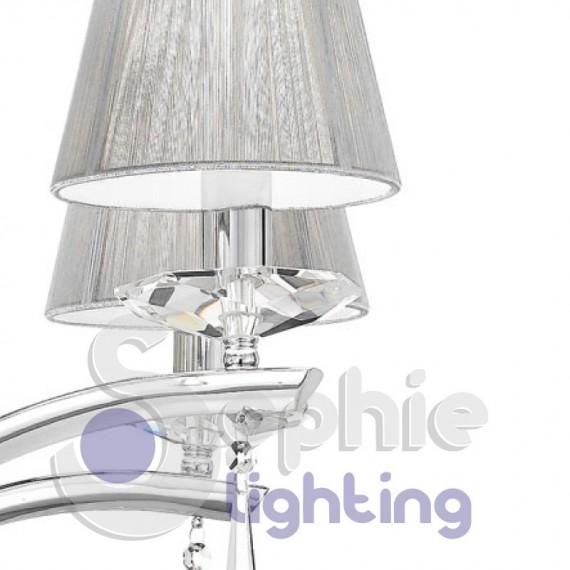 ... Lampadario 3 luci elegante contemporaneo paralumi argento cristallo