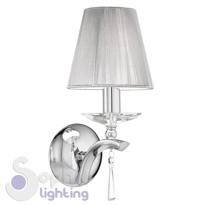 Applique parete design moderno elegante cromata paralume argento cristalli