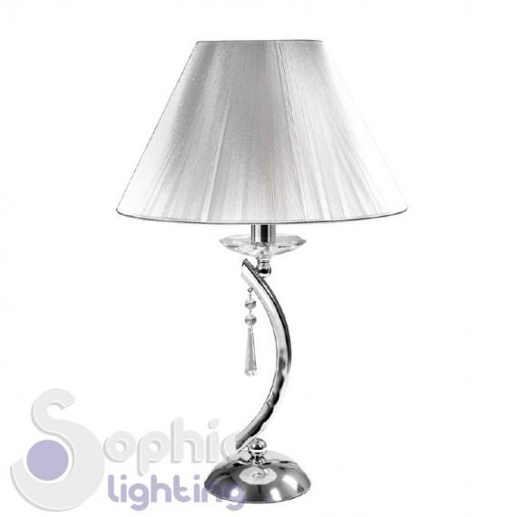 Lampada tavolo comò scrivania moderno cromo paralume argento cristallo