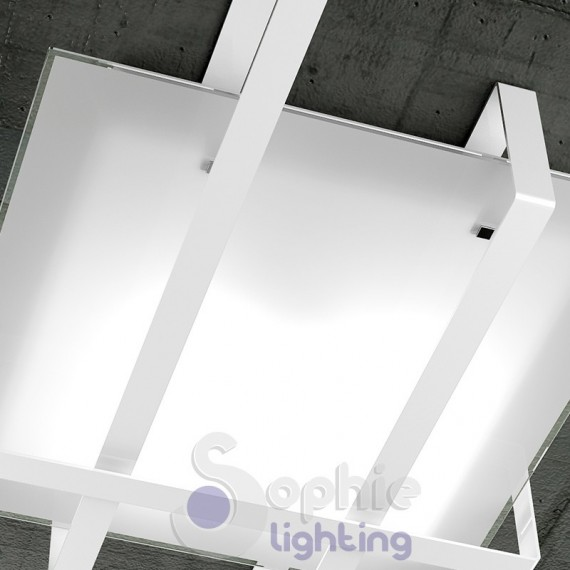 Plafoniera lampadario soffitto 99x74 design moderno minimal vetro b...