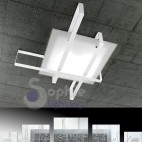 Plafoniera lampadario soffitto 99x74 design moderno minimal vetro bianco acciaio fasce incrociate