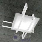Plafoniera llampada soffitto 71x53 design moderno minimal vetro satinato acciaio fasce incrocio