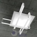 Lampada soffitto design moderno vetro satinato acciaio bianco bagno