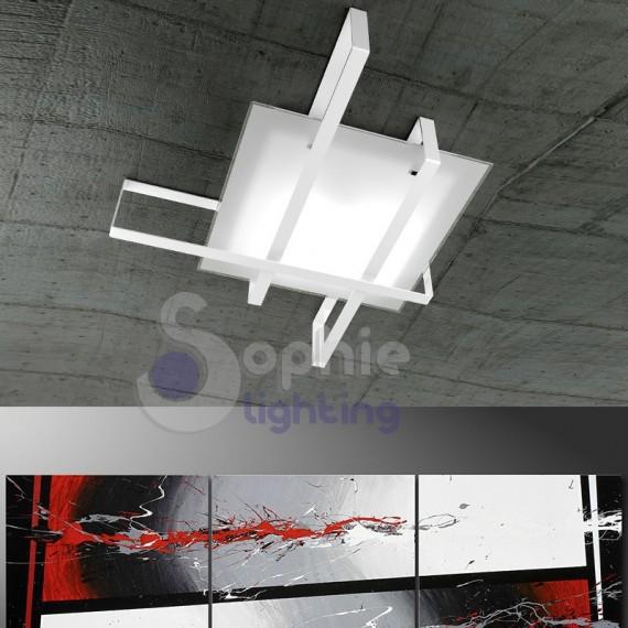 Lampada soffitto design moderno vetro satinato acciaio bianco bagno for Lampada bagno soffitto