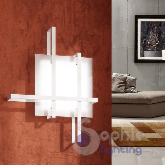Lampada parete grande 51x38 design moderno minimalista acciaio vetr...