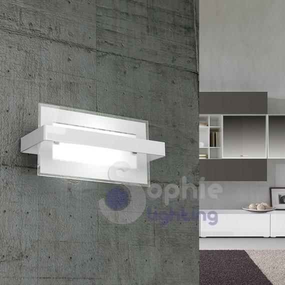 Applique parete design moderno rettangolare vetro bianco fascia cromata vano scala