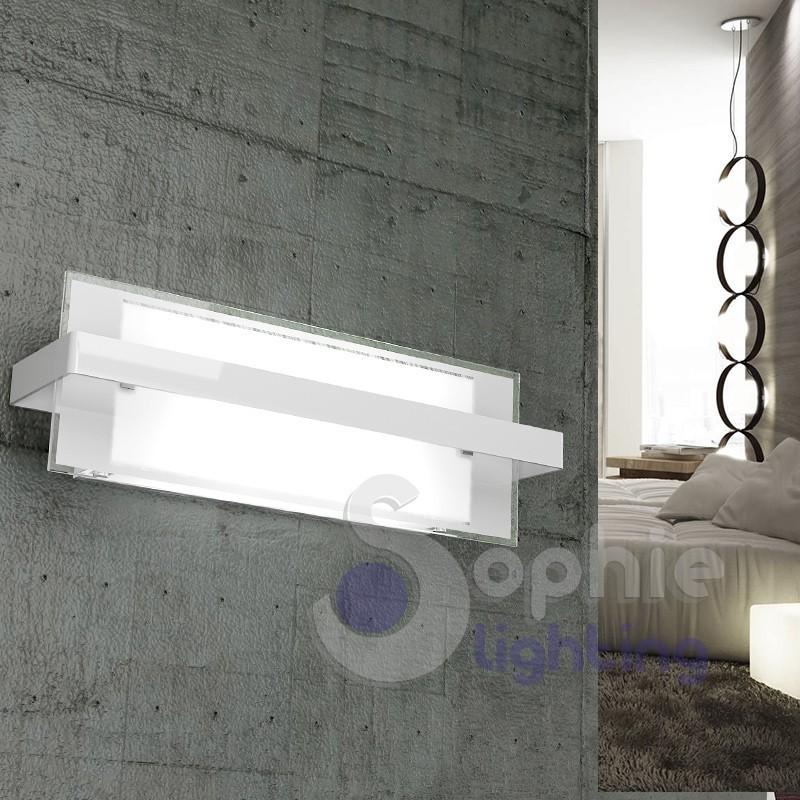 Lampada parete 44 cm moderna bianca vetro rettangolare satinato corridoio