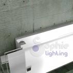 Lampada applique grande lunga 60 cm moderna vetro acciaio bianco specchiera