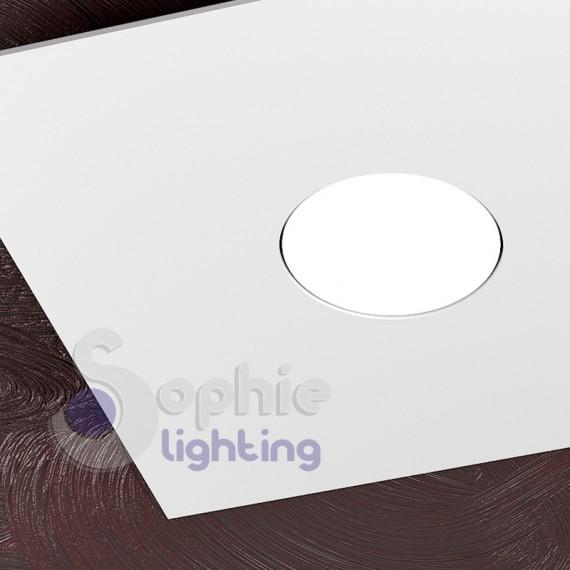 Faretto plafoniera moderno led 9W quadrato 25x25 acciaio bianco bagno ingresso