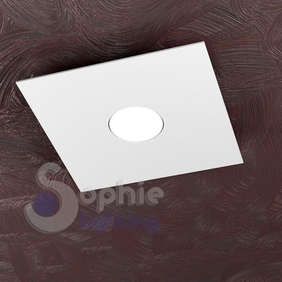 ... plafoniera moderno led 9W quadrato 25x25 acciaio bianco bagno ingresso