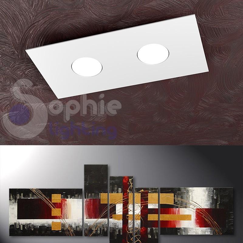 Plafoniera 2 luci LED 18W design ultra slim moderno acciaio bianco ingresso