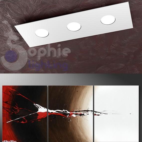 Lampada soffitto LED 27W slim design minimal 60 cm acciaio bianco penisola cucina
