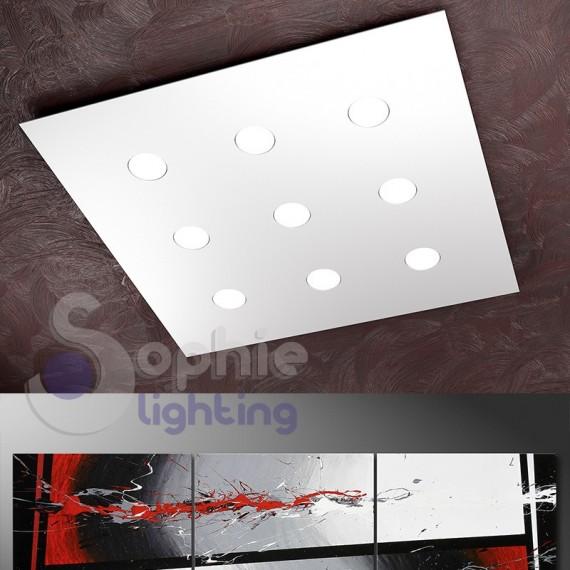 Plafoniera 80x80 cm LED 81W sostituibili pannello design moderno slim soffitto basso