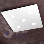 Plafoniera LED sostituibili ultra slim 3,3 cm soffitti bassi design minimal moderno acciaio bianco