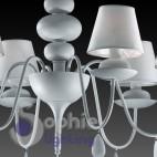 Lampadario 6 luci design moderno contemporaneo shabby chic bianco paralumi cristalli