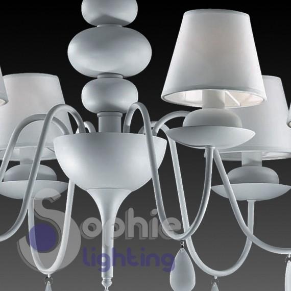 Lampadario 6 luci design moderno contemporaneo shabby chic bianco p...