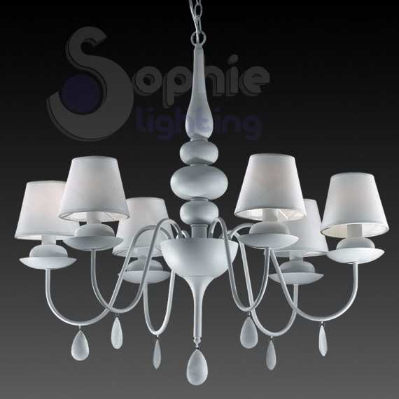 lampadario 6 luci design moderno contemporaneo shabby chic