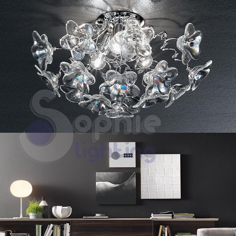 Plafoniera lampadario soffitto bracci fiori cristallo lilla ambra d...