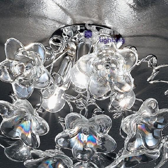 lampadario lilla : ... lampadario soffitto bracci fiori cristallo lilla ambra design moderno