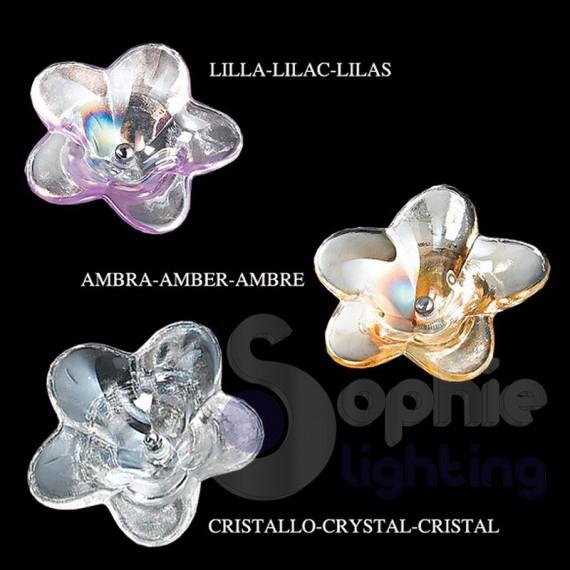 Plafoniera soffitto design moderno cromata fiori cristallo ambra salone