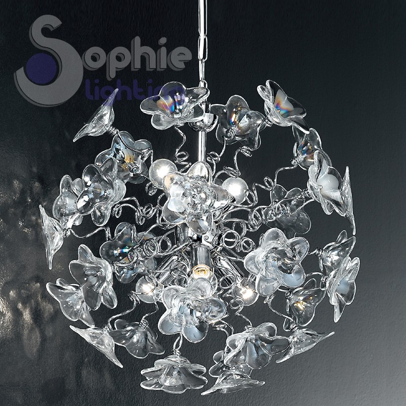 Lampadario sospensione design moderno fiori cristallo trasparente i...