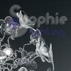 Lampadario sospensione design moderno fiori cristallo trasparente iride acciaio cromato 5 luci