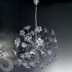 Lampada sospensione elegante moderna acciaio cromato fiori cristallo lilla camera letto