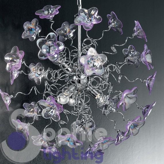 Lampada sospensione elegante moderna acciaio cromato fiori ...