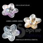 Applique lampada muro moderna cromato fiori lilla cristallo corridoio bagno