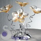Lumetto abat jour moderno design fiori cristallo ambra cromato