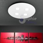 Plafoniera 50 cm pannello rotondo LED altezza slim tetto basso acciaio bianco design minimal