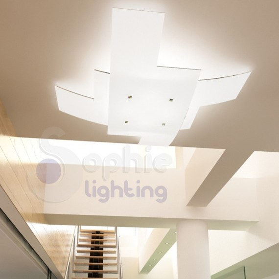 Plafoniera lampadario grande 95 cm soffitto doppio vetro bianco incrociato design moderno soggiorno