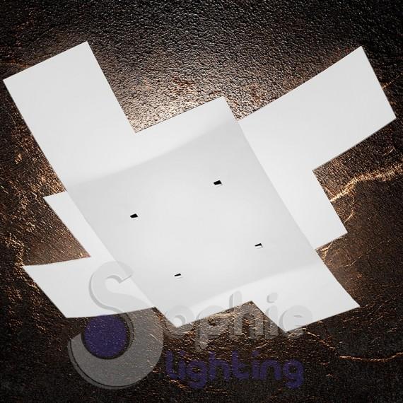 lampadario grande 95 cm soffitto doppio vetro bianco incrociato design ...